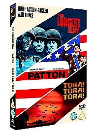 The Longest Day/Patton/Tora! Tora! Tora! (DVD, 2006, 3-Disc  Set, Box Set) USED
